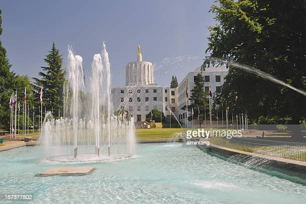 water fountain and state building - salem oregon stock pictures, royalty-free photos & images
