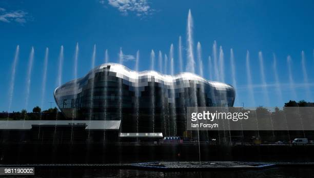Water fountain art installation displays in the middle of the River Tyne at the launch of the Great Exhibition of the North on June 22, 2018 in...