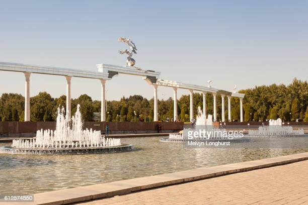Water fountains and Ezgulik Independence Arch, Independence Square, Mustakillik Maydoni, Tashkent
