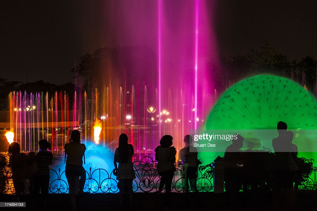 Water fountains at night, Manila, Philippines : Stock Photo