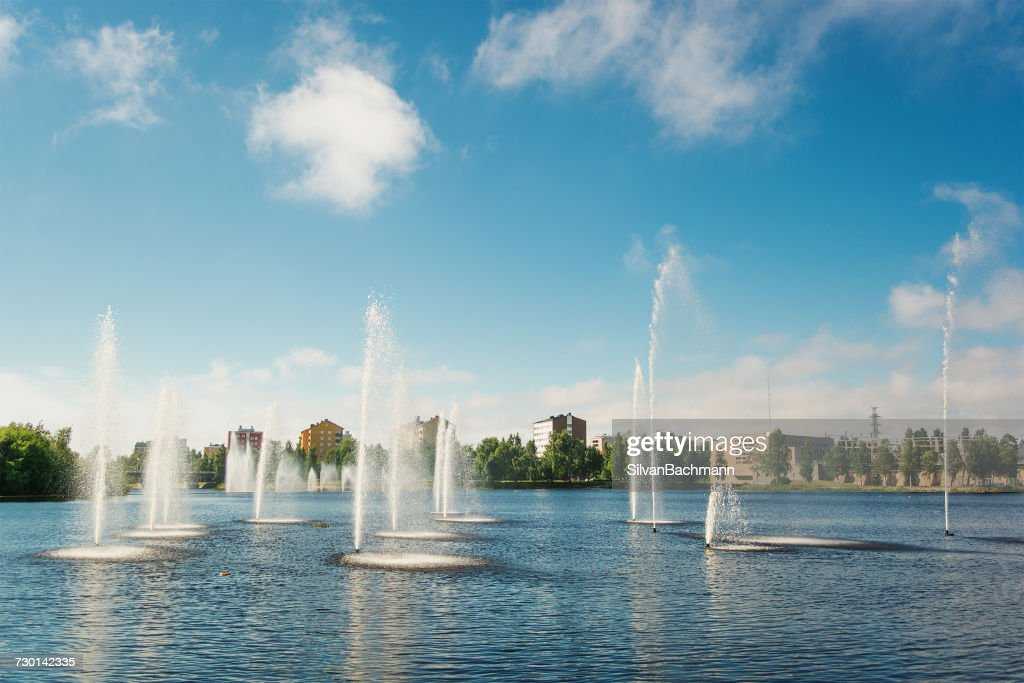 Water fountains in lake, Oulu, Finland : Stock-Foto