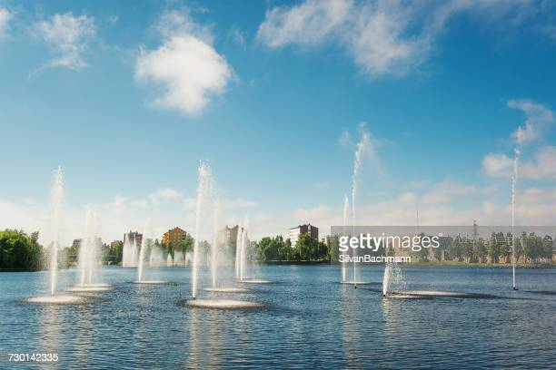 Water fountains in lake, Oulu, Finland