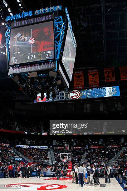 Water from above temporarily halted play with 321 left in the first quarter during the game between the Atlanta Hawks and the Dallas Mavericks at...