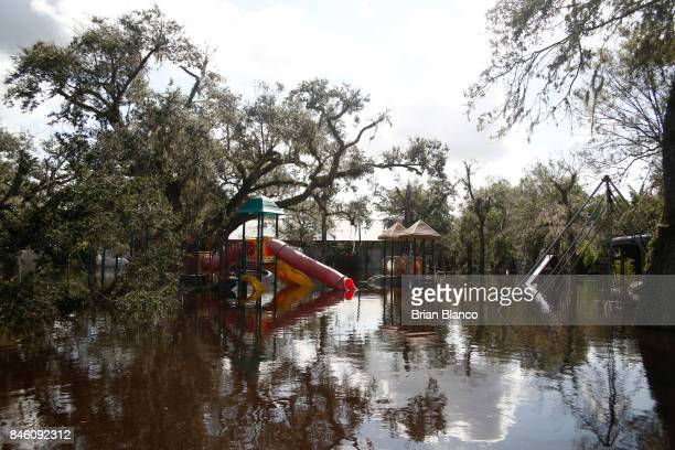 Water from the nearby Peace River floods the Peace River Campground in the wake of Hurricane Irma on September 12 2017 in Arcadia Florida Hurricane...