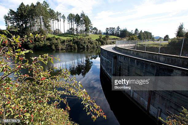 Water from the Waikato River flows near the dam at the Arapuni hydroelectric power station operated by Mighty River Power Ltd in Arapuni New Zealand...