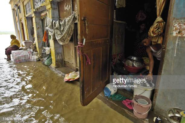 Water from the Yamuna River has breached the banks and entered houses and residential areas along the Yamuna Ghat at Kashmiri Gate on August 20 2019...