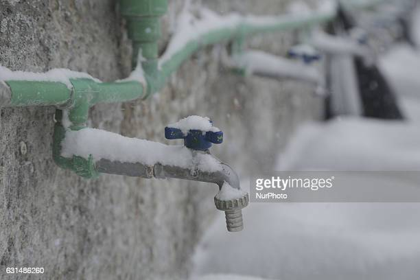 Water frozen in northern Greece in camps in or around Thessaloniki city on 11 January 2017 In Softex camp the temperature was 8°C with real feeling...