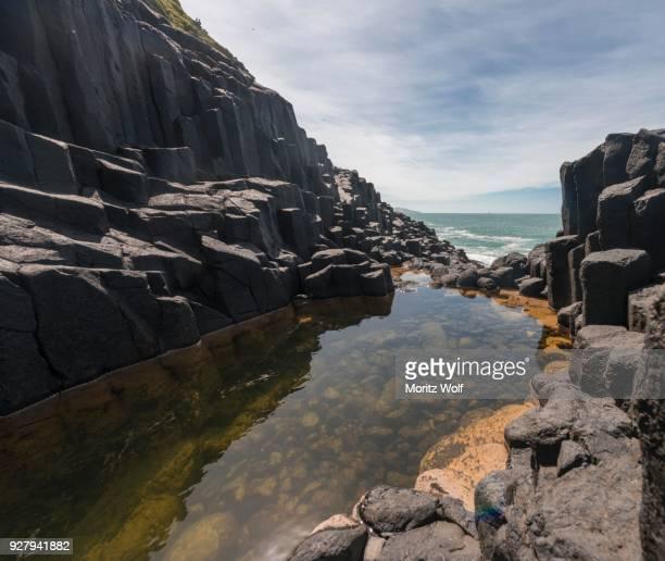 Water gathering between rocks, Roman Bath, Hexagonal basalt column by the Sea, Blackhead, Dunedin, Otago, South Island, New Zealand