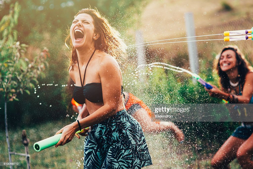Water Gun Fight : Stock Photo