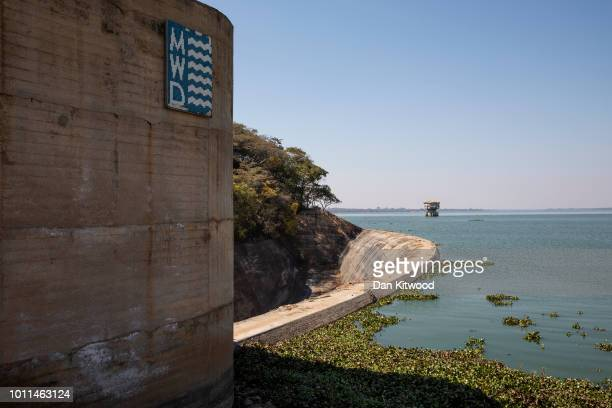 Water Hyacinth collects by the dam wall at the side of Lake Chivero on August 5 2018 in Harare Zimbabwe Lake Chivero is 32km South West of Zimbabwe's...