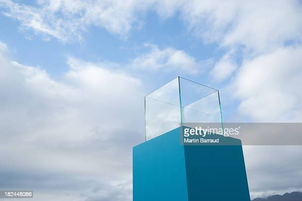 water in a blue receptacle box outdoors - box container stock pictures, royalty-free photos & images