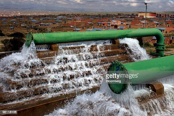 Water is processed and distributed at the stateowned Empresa Publica Social del Agua y Saneamiento SA water treatment facility in Alto Lima Bolivia...
