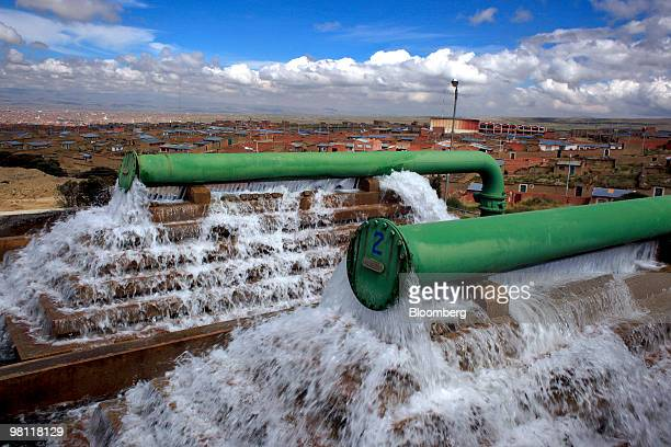 Water is processed at the stateowned Empresa Publica Social del Agua y Saneamiento SA water treatment facility in Alto Lima Bolivia on Thursday March...