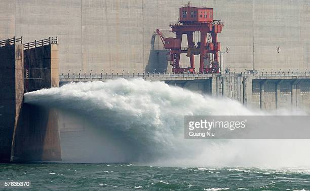 Water is released from one of the valves at the Three Gorges Dam project on May 17 2006 in Yichang of Hubei Province China The construction of...