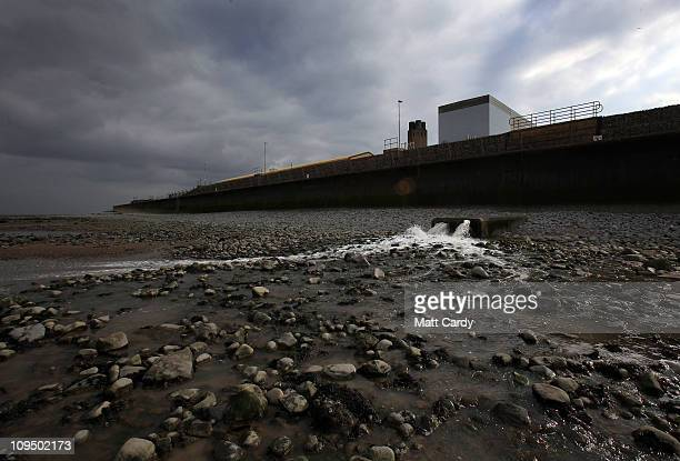 Water is released into the sea in front of Hinkley Point B's Advanced Gascooled Reactor at the Hinkley Point nuclear power station on February 28...