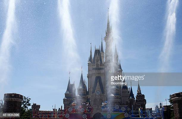 Water is sprayed as the Walt Disney Co character Donald Duck center performs in front of the Cinderella Castle during an event named Disney Natsu...