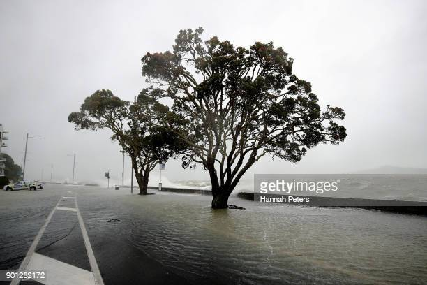 Water Levels Rise On The Waterfront January 5 2018 In Auckland New Zealand Heavy Wind