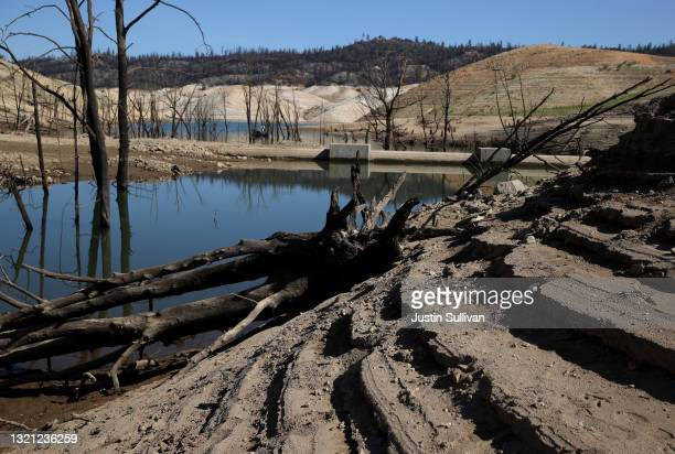 Water lines are visible on the banks of Lake Oroville on June 01, 2021 in Oroville, California. As the extreme drought takes hold in California,...