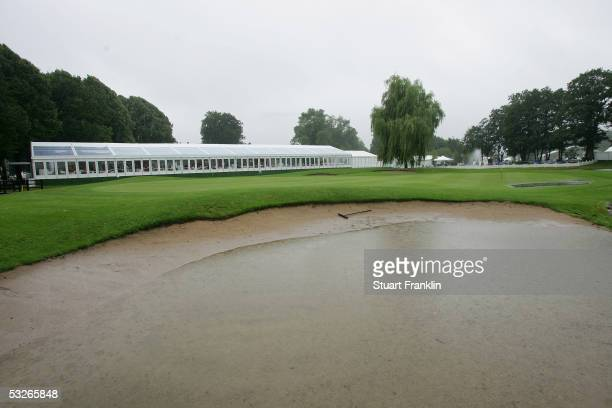 A water logged bunker on the ninth green before the abandonment of play of the first round of The Deutsche Bank Players Championship at Gut Kaden...