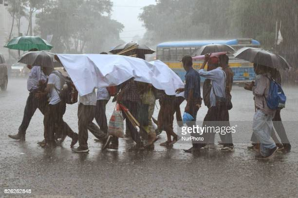Water Logged Road after heavy Rain at Central Kolkata city on August 032017 in India