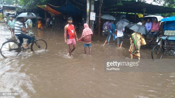 Water logged Road during continue heavy rain on July 242017 in KolkataIndia