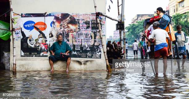A water logged street scene after a heavy afternoon downpour Monsoon season in kolkata lasts from mid March to end of September and during these...