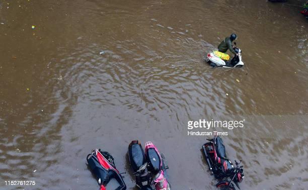 Water logging at Pratiksha Nagar Karamveer Colony on June 28 2019 in Mumbai India Several areas of Mumbai woke up to heavy downpour today with the...