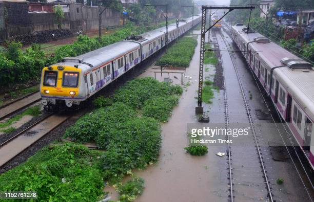 Water logging at Sion railway track on June 28 2019 in Mumbai India Several areas of Mumbai woke up to heavy downpour today with the weather...