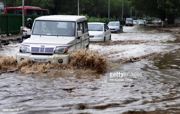 Water logging due to rain at dividing road Sector 1722 on May 8 2018 in Chandigarh India Dust storms rain and thunder lashed out in parts of northern...