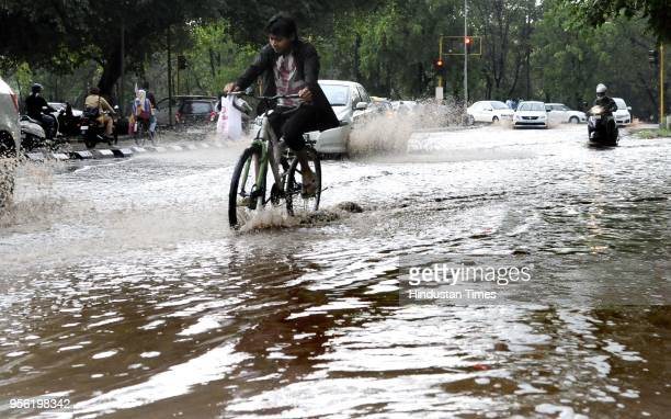 Water logging due to rain near MC Office light point in Sector 17 on May 8 2018 in Chandigarh India Dust storms rain and thunder lashed out in parts...