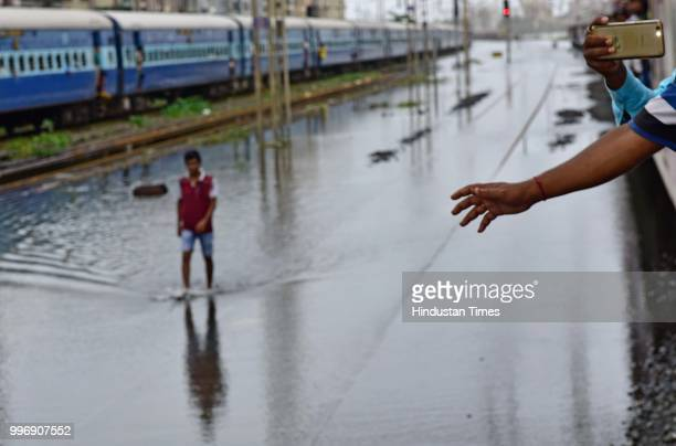 Water Logging on railway track between Vasai and Nallasopara on July 11 2018 in Mumbai India Heavy rains made a comeback in Mumbai causing...