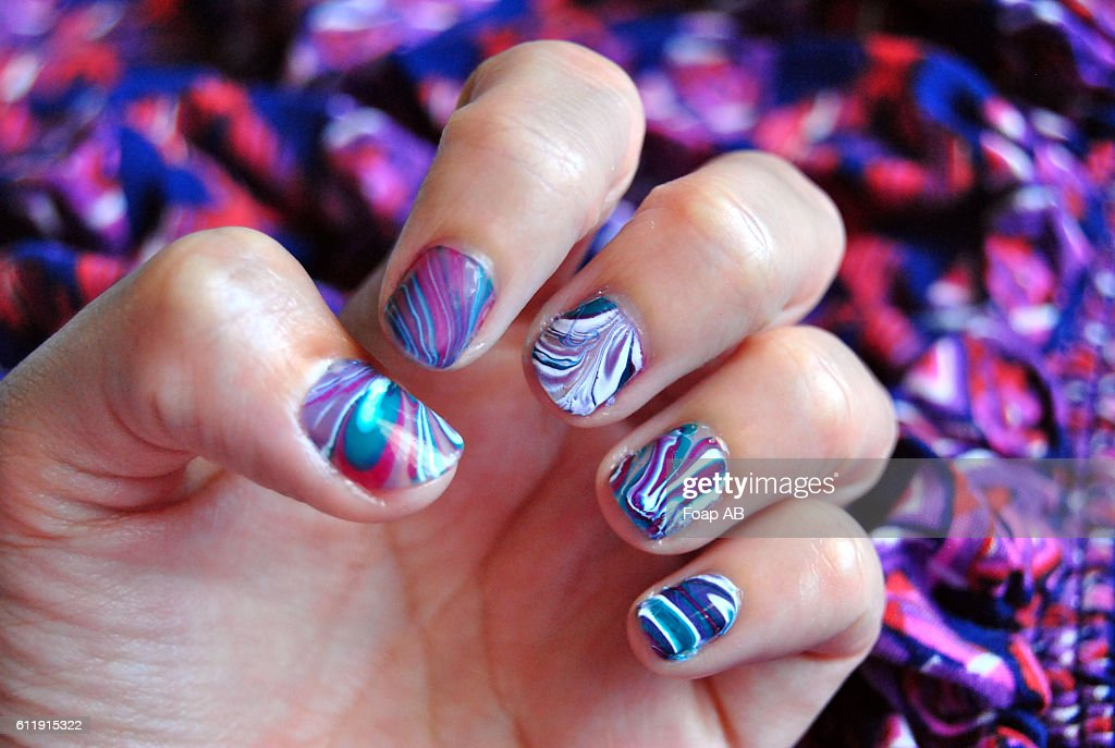 Water Marble Nail Art Stock Photo | Getty Images