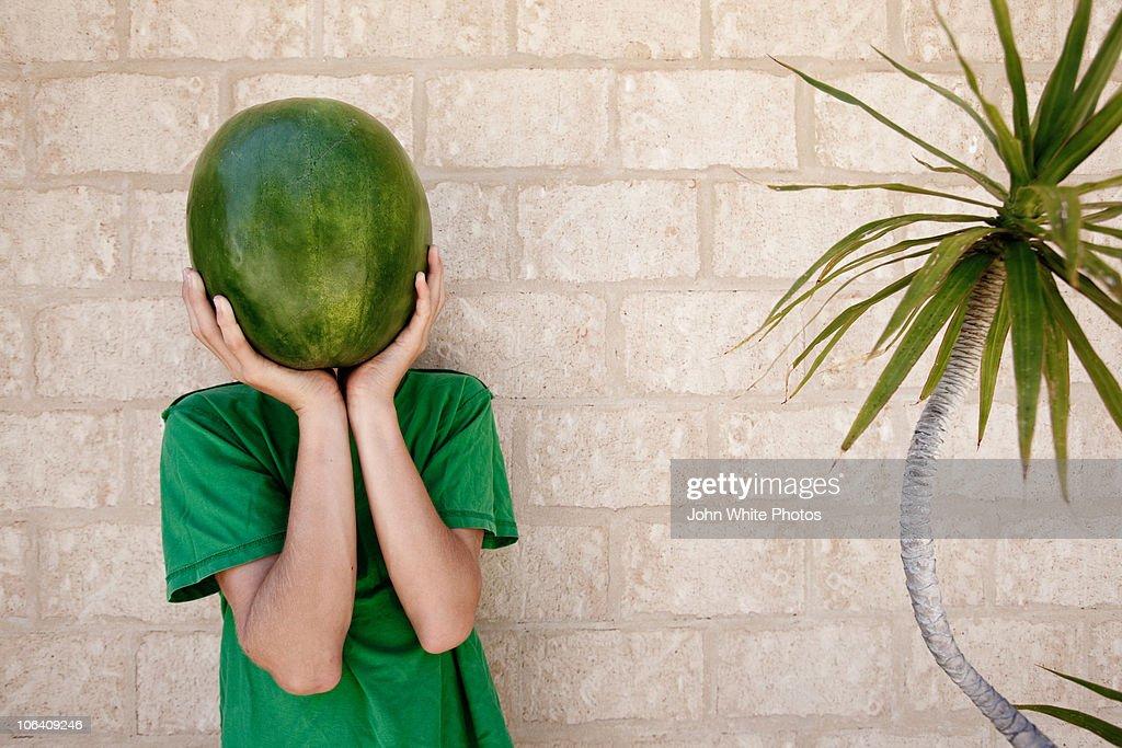 Water melon head : Stock Photo