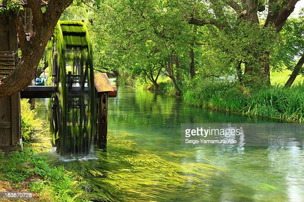 Water mill by the river at Daio wasabi garden, Nagano Prefecture