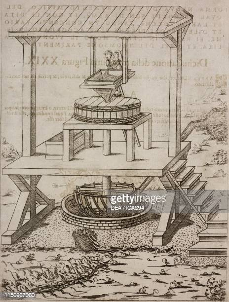 Water mill with a horizontal wheel, for grinding wheat, engraving from Il theatro de gl'instrumenti e machine , figure 28, by Jacques Besson Lyon.
