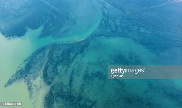 water pattern aerial view - liyao xie stockfoto's en -beelden