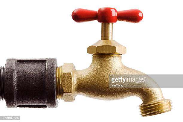 Water Pipe Faucet, Red Tap Handle Fixture Isolated on White