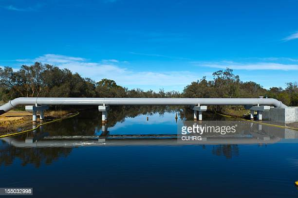 water pipeline crossing a river
