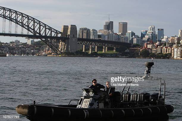 Water Police secure the harbour prior to Oprah Winfrey's arrival at The Royal Botanic Gardens on December 11 2010 in Sydney Australia Oprah Winfrey...