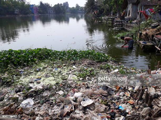 water pollution at a city Lake during the observer World Water day on Match 222018 in Kolkata city in India