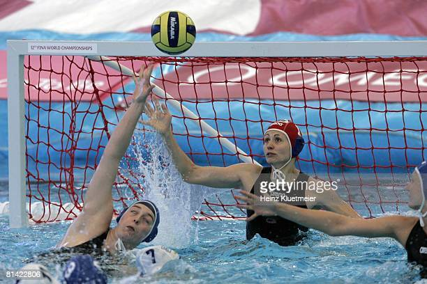 Water Polo 12th FINA World Championships Hungary goalie Patricia Horvath in action vs Russia during Women's Bronze Medal Game at Sports and Aquatic...