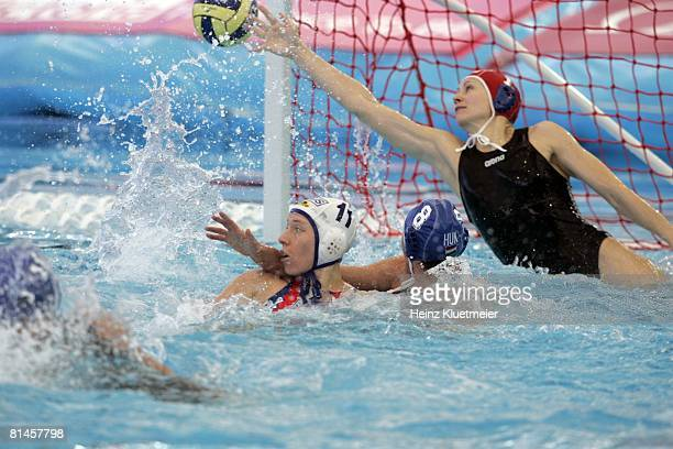 Water Polo 12th FINA World Championships Hungary goalie Patricia Horvath in action making save vs Russia during Women's Bronze Medal Game at Sports...