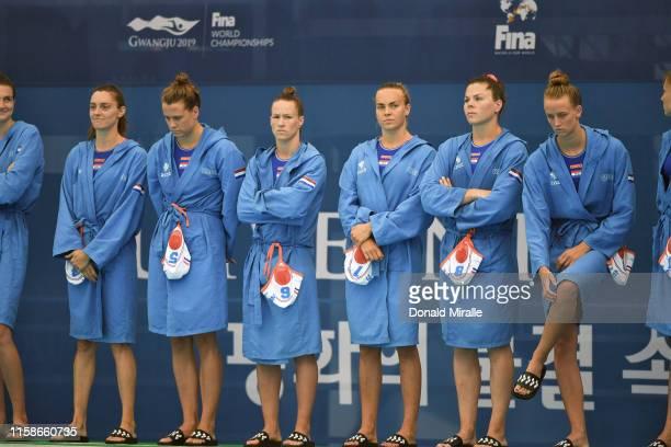 18th FINA World Aquatics Championship Netherlands team after Women's Classification 58 game vs Italy at Nambu University Stadium Gwangju South Korea...
