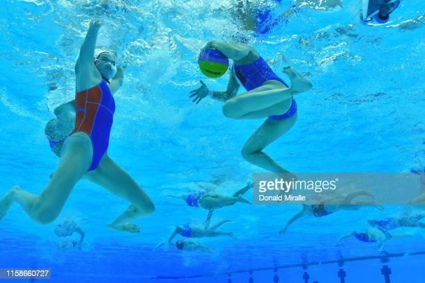 18th FINA World Aquatics Championship Underwater view of Italy in action vs Netherlands during Women's Semifinals at Nambu University Stadium Gwangju...