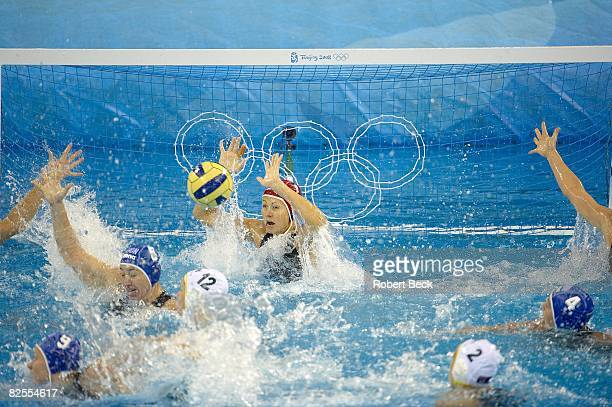 2008 Summer Olympics Hungary goalie Patricia Horvath in action vs Australia during Women's Bronze Medal Match at Yingdong Natatorium Beijing China...