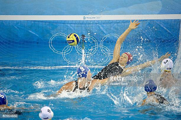 2008 Summer Olympics Hungary goalie Patricia Horvath in action yielding goal vs Australia during Women's Bronze Medal Match at Yingdong Natatorium...