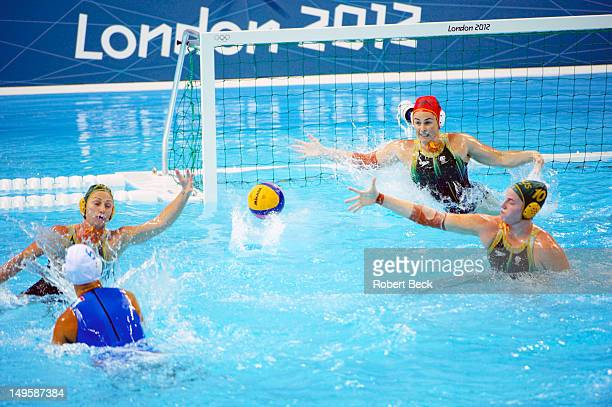 2012 Summer Olympics Australia goalie Victoria Brown in action vs Italy during Women's Preliminary Round Group B at Water Polo Arena London United...