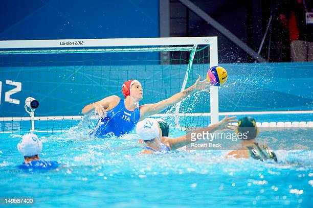 2012 Summer Olympics Italy goalie Elena Gigli in action vs Australia during Women's Preliminary Round Group B at Water Polo Arena London United...