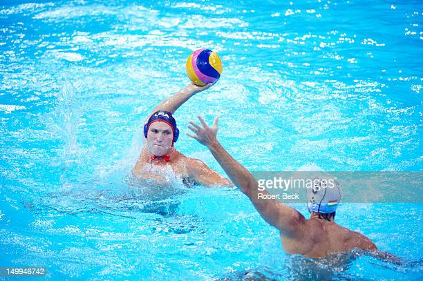 2012 Summer Olympics USA Jesse Smith in action vs Hungary during Men's Preliminary Round Group B game at Water Polo Arena London United Kingdom...