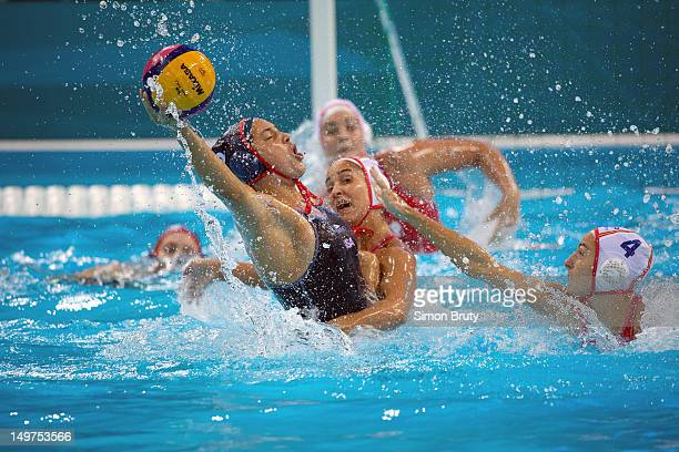 2012 Summer Olympics USA Maggie Steffens in action vs Spain during Women's Preliminary Round Group A at Water Polo Arena London United Kingdom...
